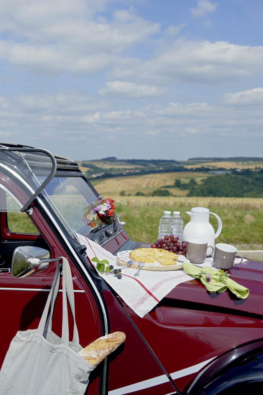 Ausflug nach Frankreich mit dem Oldtimer, Hotel Kloster Hornbach, Citroen2CV, Mietente, Picknickfahrt