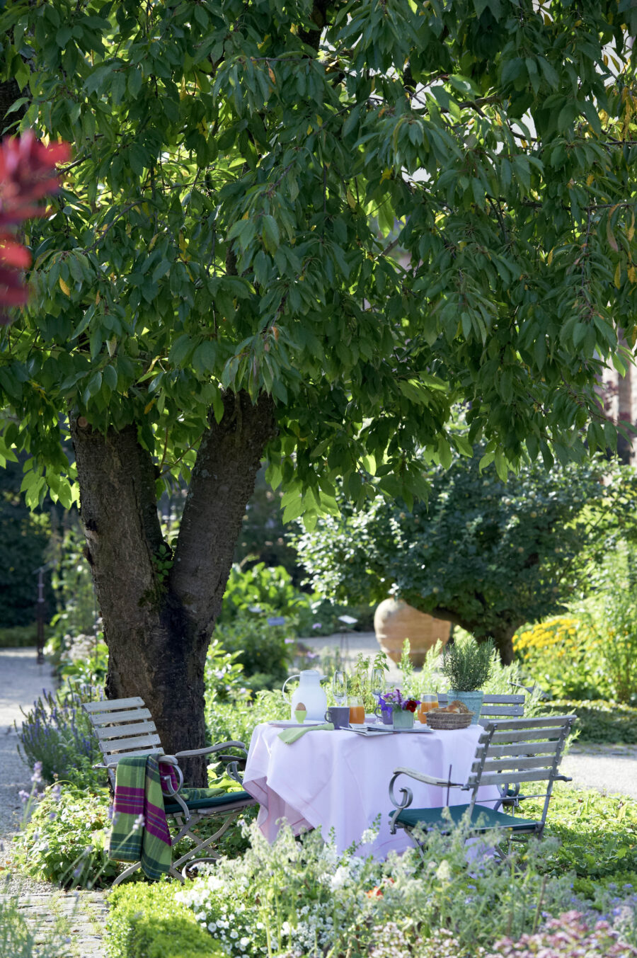Frühstück und Frühstückstisch im blühenden Kräutergarten des Hotel Kloster Hornbach